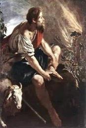 Moses removing his shoes before burning bush (Exodus 3)
