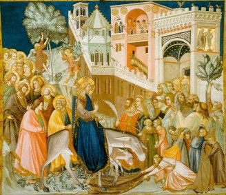 Jesus enters Jerusalem and the crowds welcome him (1320), Pietro Lorenzetti (1280-1348)