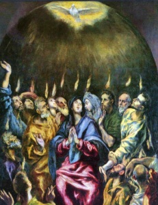 The descent of the Holy Spirit in tongues of fire on the Day of Pentecost, signaling the founding of the Church, El Greco (1541-1614)