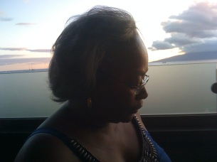 Pontheolla in a contemplative moment, Maui at sunset, 8-24-11