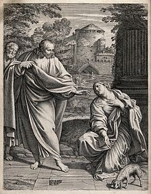 Syrophoenician woman asks Christ to cure (c. 1650), Pietro del Po (1616-1692)