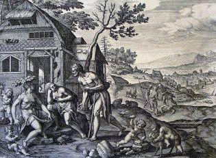 Lamech and his two wives, Jan Sadeler I (1550-1600)