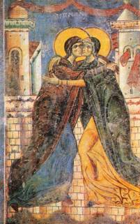 The Embrace of Elizabeth and the Virgin Mary, an ealry Eastern Christian fresco of the Visitation, St. George Church, Kurbinovo, Macedonia