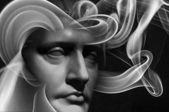 face, swirling smoke