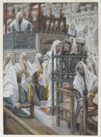 jesus unrolls the book in the synagogue (jésus dans la synagogue déroule le livre) (1886-1894), james tissot (1836-1902)
