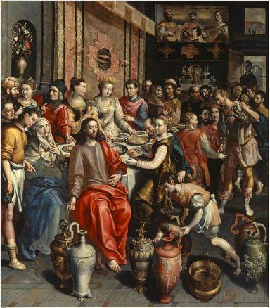 wedding at cana (1596), maerten de vos (1532-1603)