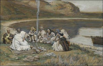 Christ Sharing Breakfast with the Apostles in Galilee, James Tissot (1886-1894). New York, Brooklyn Museum
