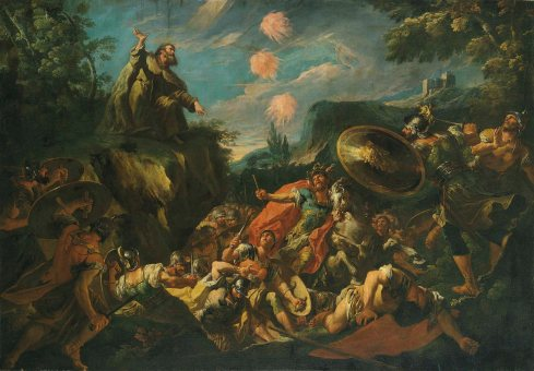 Elijah calling fire from Heaven to destroy the soldiers of Ahaziah, Gaspare Diziani (1689-1767)