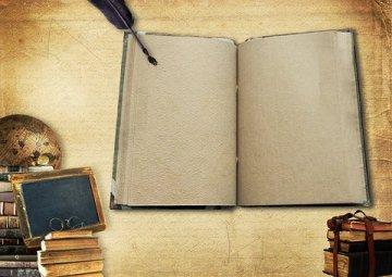 books, globe, open book, pen