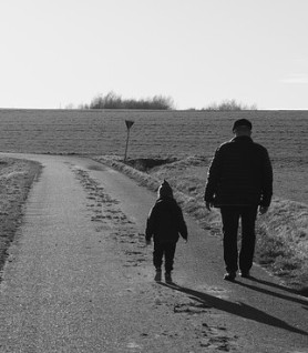 grandfather-grandson walking