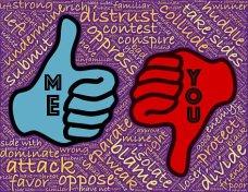 thumb up (me), thumb down (you)