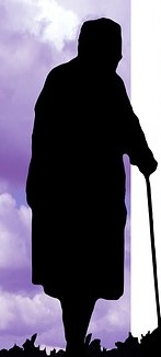 woman with cane - silhouette