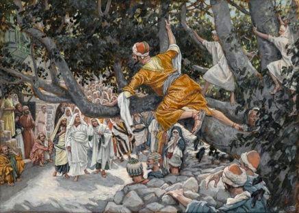 Zacchaeus in the Sycamore Awaiting the Passage of Jesus (Zachée sur le sycomore attendant le passage de Jésus) (1886-1894), James Tissot (1836-1902), Brooklyn Museum