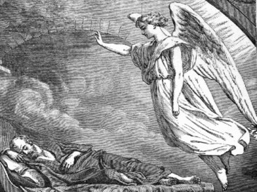 An Angel appears to Joseph in a dream; woodcut (artist unknown) from the illustrated book, Half Hours with the Bible (1890)