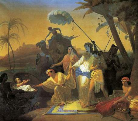 Pharoah's daughter finding the Hebrew infant, Konstantin Dmitriyevich Flavitsky (1830-1866)