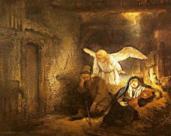 The angel appears to Joseph (c. 1645), Rembrandt Harmenszoon van Rijn (1606-1669), Gemaldegalerie der Staatlichen Museen, Berlin