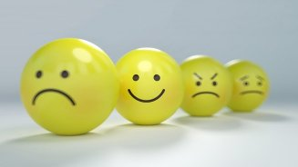 4 emoticon balls - joy